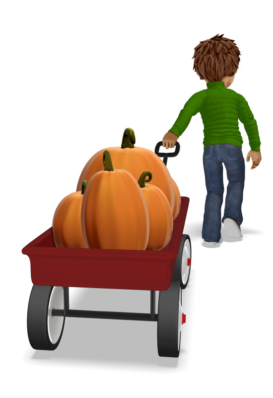 Clipart - Young Boy Pulling Wagon With Pumpkins