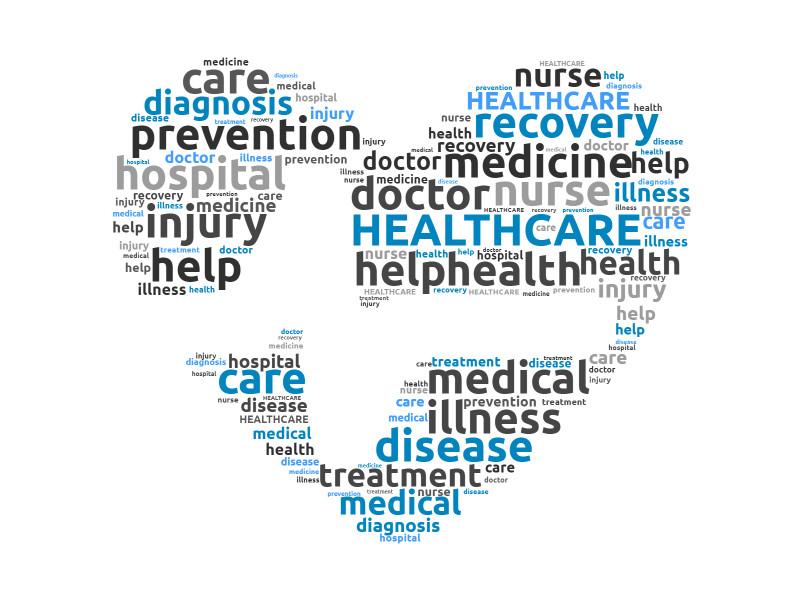 This Presentation Clipart shows a preview of heart healthcare word cloud