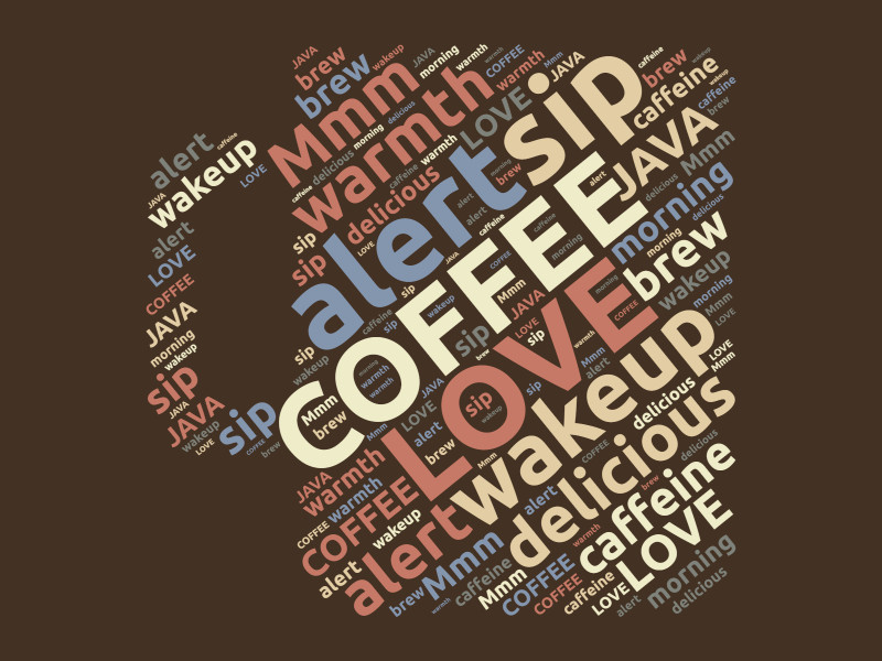 This Presentation Clipart shows a preview of love coffee word cloud design
