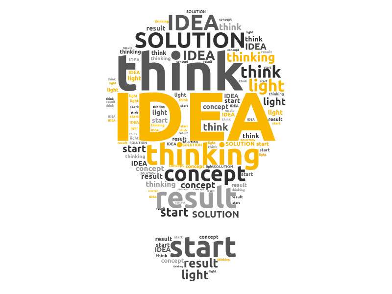 This Presentation Clipart shows a preview of Idea light bulb word cloud Design