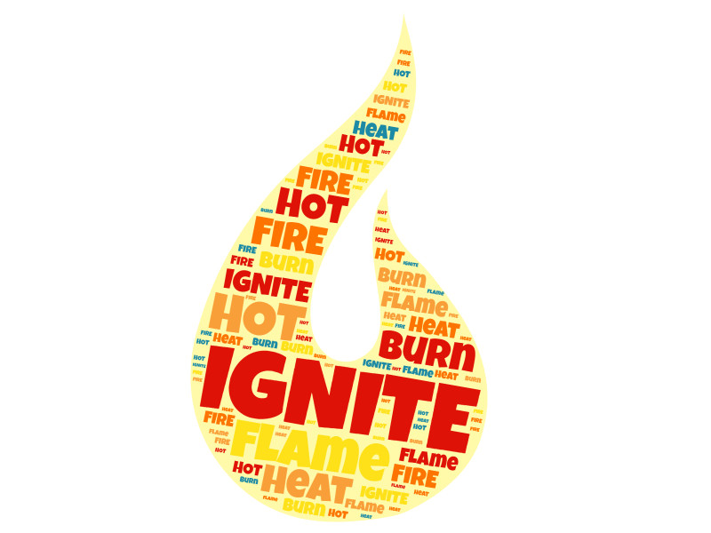 This Presentation Clipart shows a preview of flame-shaped word collage creator