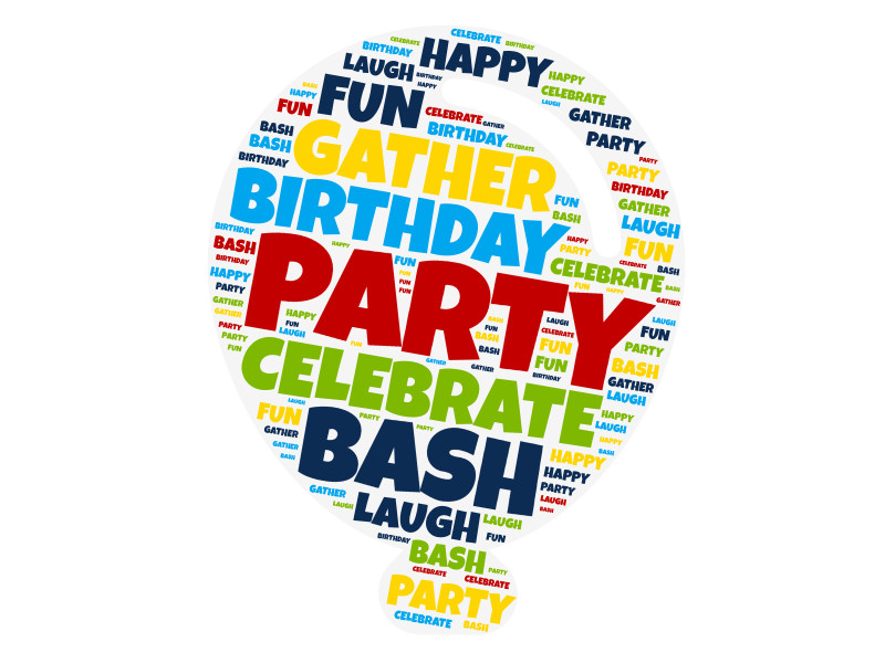 This Presentation Clipart shows a preview of Birthday Word Cloud Balloon