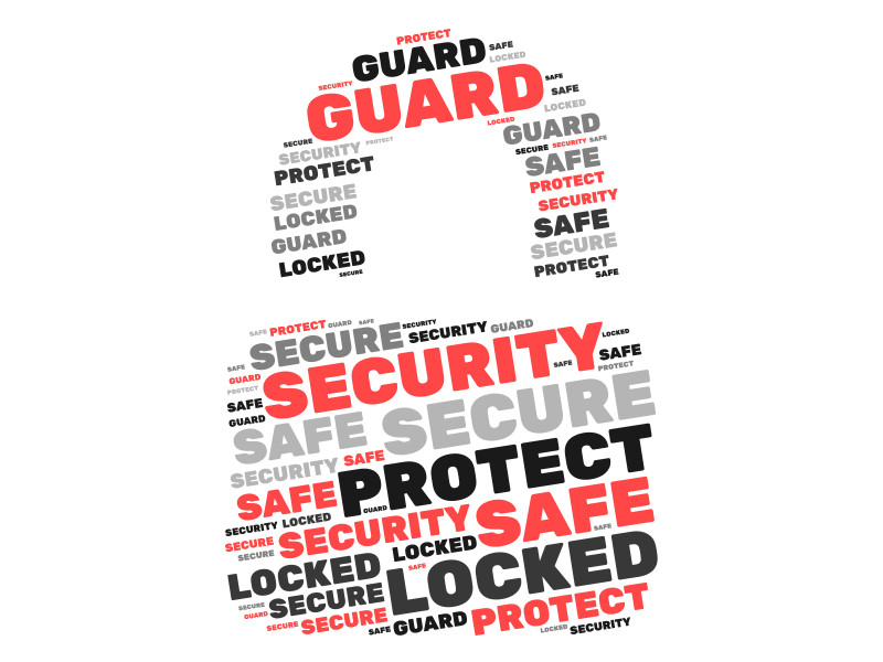This Presentation Clipart shows a preview of Cyber Security Word Cloud Lock