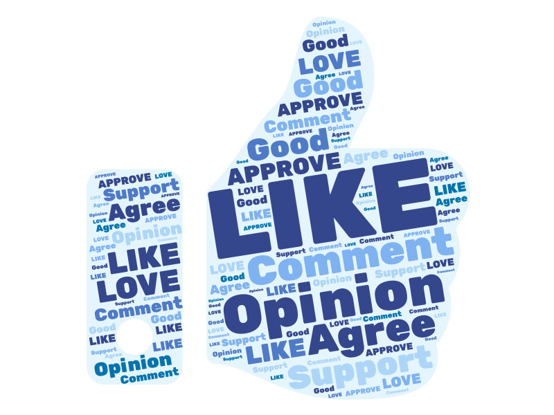 This Presentation Clipart shows a preview of Facebook Thumbs Up Word Cloud