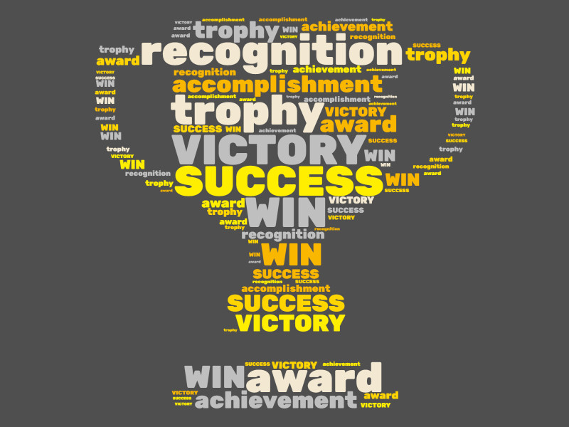 This Presentation Clipart shows a preview of trophy success word cloud