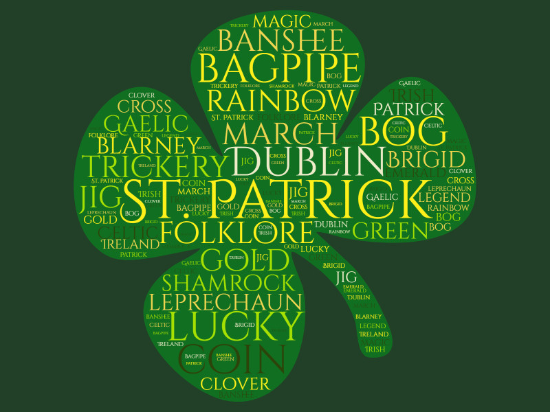 This Presentation Clipart shows a preview of Shamrock Word Cloud