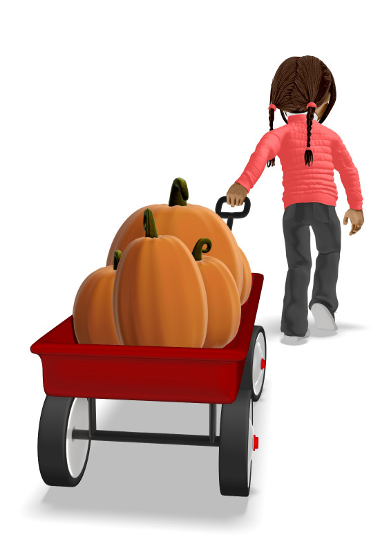 Clipart - Young Girl Pulling Wagon With Pumpkins