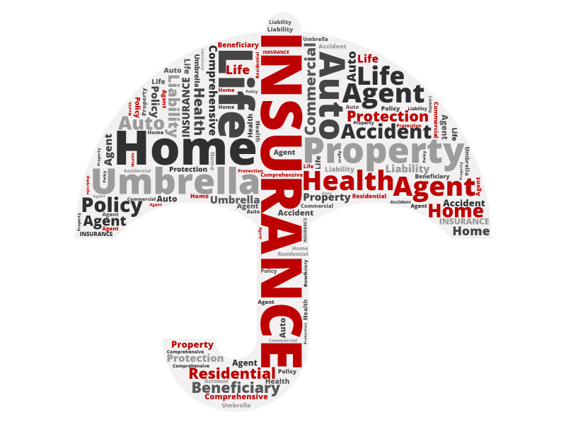 This Presentation Clipart shows a preview of Umbrella Insurance Word Cloud