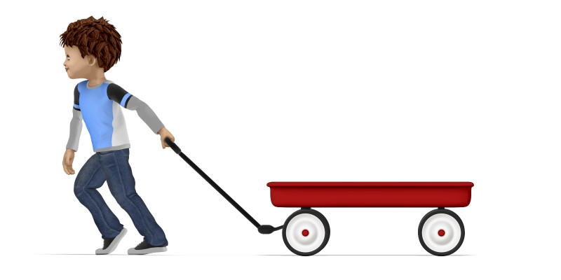 Clipart - Young Boy Pulling Empty Wagon