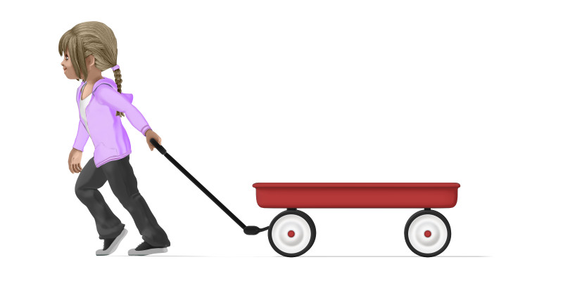 Clipart - Young Girl Pulling Empty Wagon