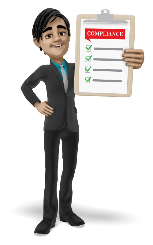 Clipart - Businessman Clipboard Compliance