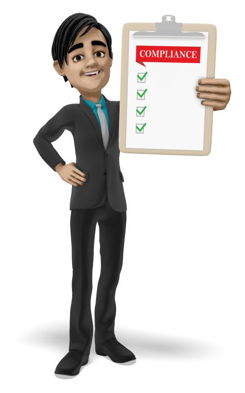 Clipart - Businessman Clipboard Compliance Blank