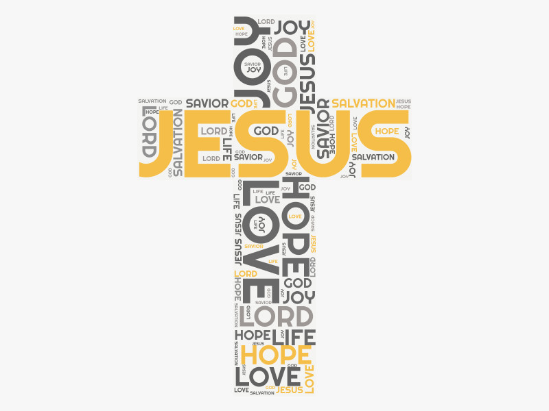 This Presentation Clipart shows a preview of Christian Cross Word Cloud