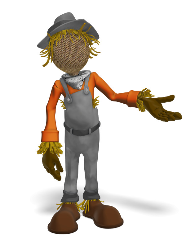 Clipart - Scarecrow Presenting To The Side