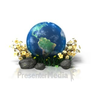 ID# 1207 - Planet Earth in Flowers - Presentation Clipart