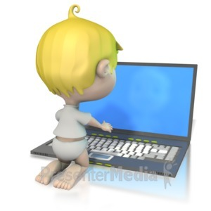 ID# 1230 - Baby At Laptop  - Presentation Clipart