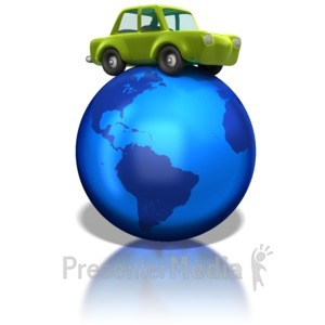 ID# 1232 - Green Car on Earth - Presentation Clipart