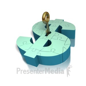 ID# 1275 - Key Insert Lock Money Puzzle  - Presentation Clipart