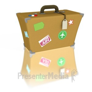 ID# 1290 - Luggage Travel Stickers - Presentation Clipart