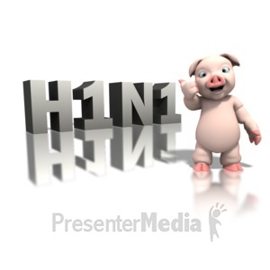ID# 1294 - Pig Pointing H1n1 Giant Text - Presentation Clipart