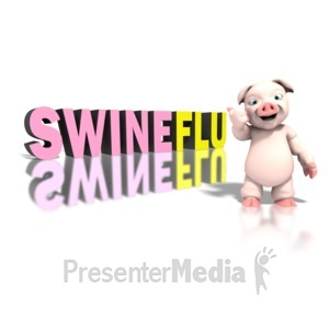 ID# 1295 - Pig Pointing Swine Flu Giant Text - Presentation Clipart