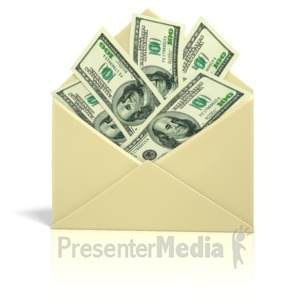 ID# 1305 - Envelope Money   - Presentation Clipart