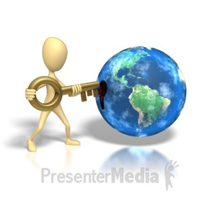 ID# 1318 - Stick Figure Insert Key Earth Hole - Presentation Clipart