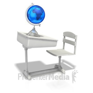 ID# 1319 - School Desk With Globe  - Presentation Clipart