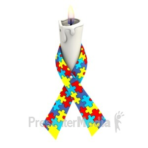 ID# 1353 - Autism Ribbon Candle - Presentation Clipart