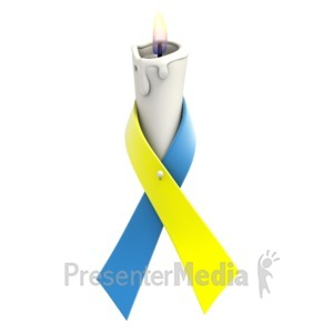 ID# 1356 - Blue Yellow Ribbon Candle - Presentation Clipart