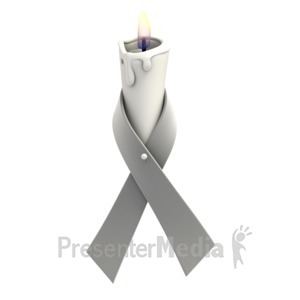 ID# 1360 - Grey Ribbon Candle - Presentation Clipart