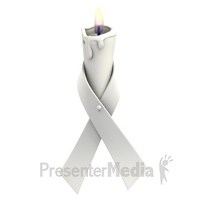 ID# 1373 - White Ribbon Candle - Presentation Clipart