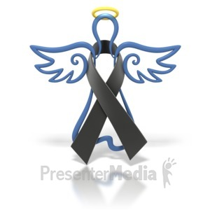 ID# 1428 - Angel Outline Black Ribbon - Presentation Clipart
