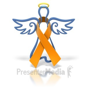 ID# 1438 - Angel Outline Orange Ribbon - Presentation Clipart