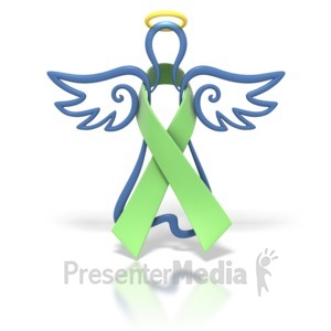 ID# 1440 - Angel Outline Lime Ribbon - Presentation Clipart