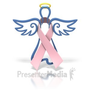 ID# 1441 - Angel Outline Pink Ribbon - Presentation Clipart