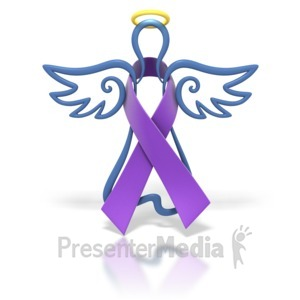 ID# 1443 - Angel Outline Purple Ribbon - Presentation Clipart