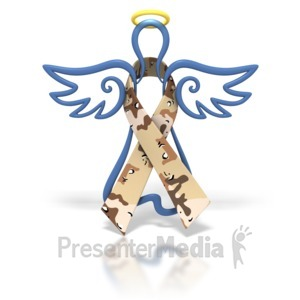 ID# 1445 - Angel Outline Desert Camo Ribbon - Presentation Clipart