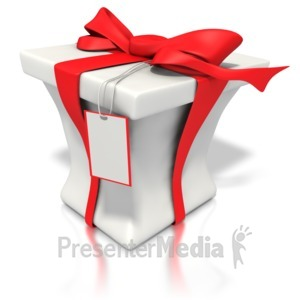 ID# 1450 - Red White Present  - Presentation Clipart