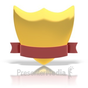 ID# 1500 - Gold Shield And Ribbon - Presentation Clipart