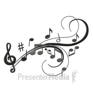 ID# 1526 - Music Notes Swoosh - Presentation Clipart