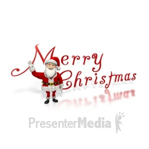 ID# 1539 - Santa Waving Merry Christmas - Presentation Clipart