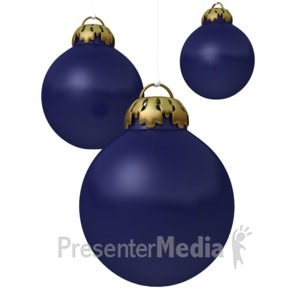 ID# 1548 - Blue Christmas Ornaments - Presentation Clipart