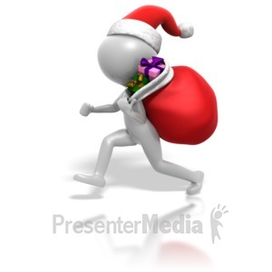 ID# 1558 - Christmas Stickman Gifts In Bag - Presentation Clipart