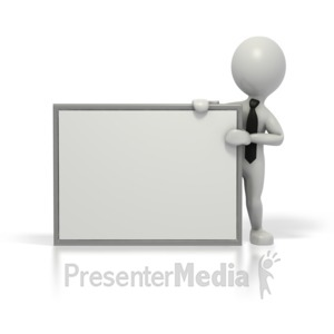ID# 1563 - Business Grey Stick Guy Blank Sign - Presentation Clipart