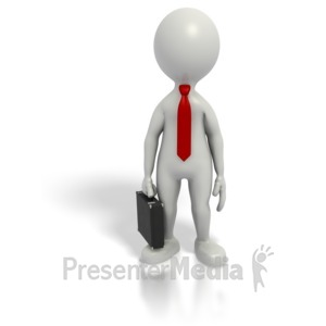 ID# 1565 - Business Grey Stick Guy Briefcase - Presentation Clipart