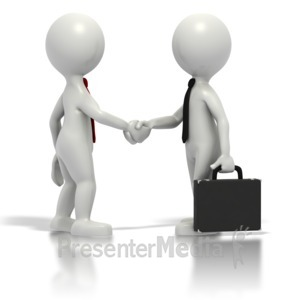ID# 1570 - Business Grey Stickmen Shake Hands - Presentation Clipart