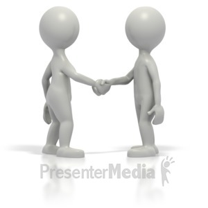 ID# 1572 - Two Grey Stickmen Shake Hands - Presentation Clipart