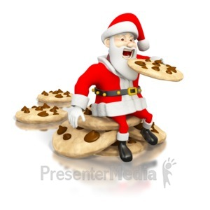 ID# 1574 - Santa Eating Cookies - Presentation Clipart