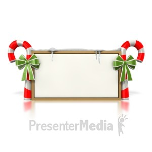 ID# 1575 - Candy Cane Sign  - Presentation Clipart